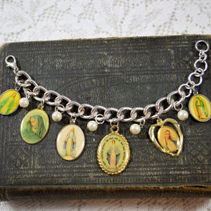 Handcrafted Religious Charm Bracelet Virgin Mary